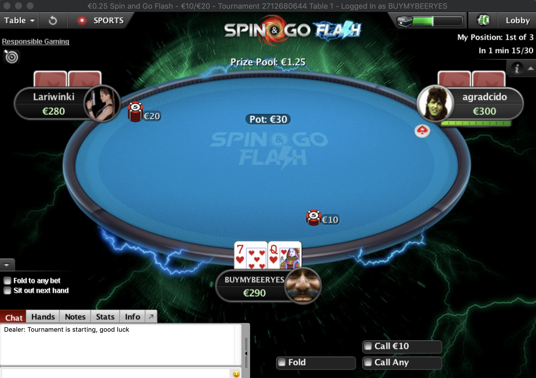 spin and go flash shorter stacks faster blinds