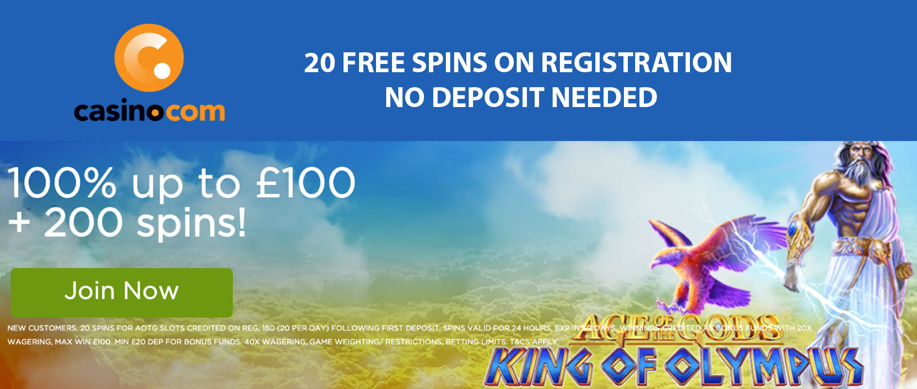casino.com free spins no deposit